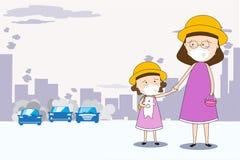 对防止空气污染的学校和穿戴面具N95的母亲和女儿步行在城市PM 2 5在尘土米 库存例证