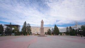 对阿拜的纪念碑乌拉尔斯克timelapse hyperlapse的 股票录像