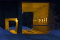 对隧道的门在多雪的冬天晚上 免版税库存图片