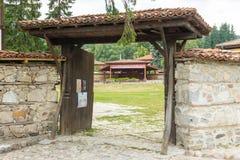 对音乐会阶段的入口在Koprivshtitsa,保加利亚 免版税库存照片