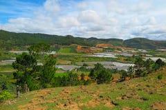 对风景的概要在大叻附近,在越南南部 免版税库存图片