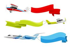 对飞行的飞机的附加的横幅 在动画片样式的传染媒介例证 皇族释放例证
