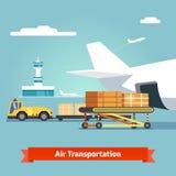 对飞行航空器的装货箱子 库存例证