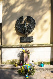 对饥荒的受害者的纪念品在乌克兰在克拉科夫波兰 免版税库存图片