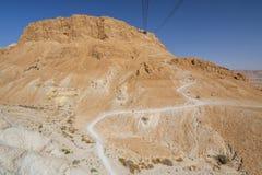 对马萨达堡垒的电车,Judaean沙漠在以色列 免版税图库摄影