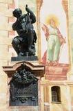 对马赛厄斯Klotz,举世闻名的小提琴制造者的雕象在米滕瓦尔德,德国 图库摄影