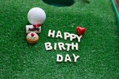 对高尔夫球运动员的生日快乐 图库摄影