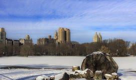 对高层建筑物的中央公园视图 免版税图库摄影
