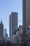 对高层建筑物的中央公园视图 免版税库存图片