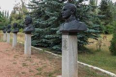 对高度装饰的战士的纪念品伟大的爱国战争纪念建筑/世界大战2纪念品的在胜利公园,卡拉科尔,吉尔吉斯斯坦 库存图片