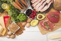 对高脂肪是完善的各种各样的食物,低碳节食 库存图片