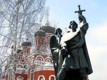 对鲍里斯王子的纪念碑城市的老部分的中心广场的 图库摄影