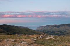 对鸽子海湾的看法在日落 免版税库存照片
