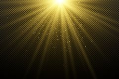 对黑暗的透明背景的金黄光线影响 怒视bokeh 金黄不可思议的光芒 明亮的展开 阳光 圣诞节lig 向量例证
