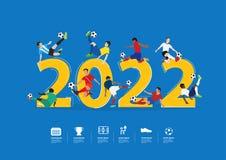 对2022个新年导航行动的足球运动员 库存图片