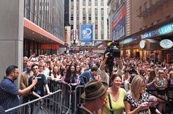 对2015个星的爱好者群在胡同 免版税库存图片