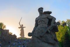 对死亡的纪念碑逗留在Mamaev库尔干,伏尔加格勒 免版税库存图片