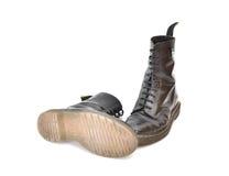 对经典黑鞋带起动 免版税库存图片