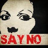 对暴力说不反对妇女 免版税库存照片