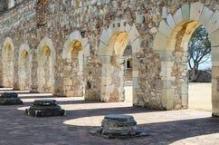 对围场的特写镜头视图Convento de Cuilapam在瓦哈卡 库存图片