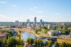 对维尔纽斯,立陶宛的现代部分的看法 库存图片
