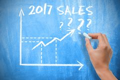 对2017年展望的销售与在黑板的图表图 库存图片
