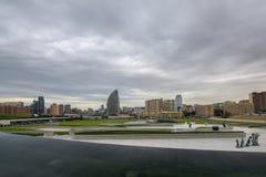 对巴库市的全景 免版税库存照片