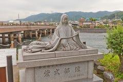 对紫式部的纪念碑在Uji,日本 免版税库存照片