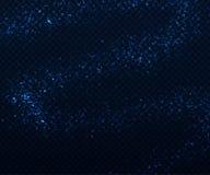 对黑暗的透明背景的轻的闪耀的作用 发光的蓝色微粒 库存照片