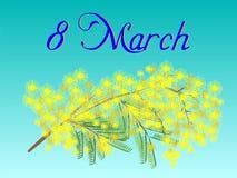 对3月8日的明信片与含羞草的花束 图库摄影