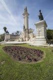 对1812的宪法,全景,卡迪士的纪念碑,和 库存照片