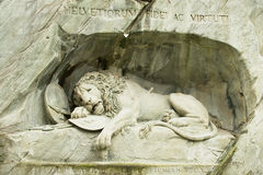 对死的狮子纪念碑的看法在卢赛恩,瑞士 库存图片