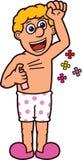 对他的身体动画片例证的人喷洒的香水 免版税库存图片