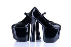 对黑迷信鞋子 免版税图库摄影