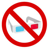 对3d镜片的用途的禁止 免版税库存照片