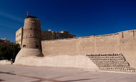 对Al Fahidi堡垒的外视图在迪拜,阿拉伯联合酋长国 库存照片