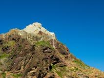对AlCahira堡垒开罗城堡, Taiz,也门的亦称外视图 免版税库存照片