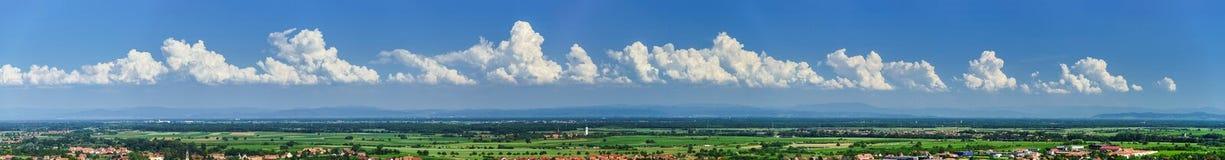 对Alsacevineyards,法国的宽全景 库存图片