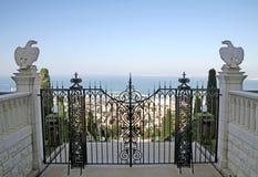 对Bahai庭院的门,海法 免版税图库摄影
