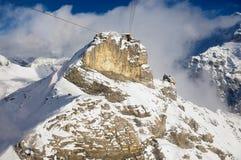 对Birg缆车驻地的看法从在途中的缆车长平底船向雪朗峰在Murren,瑞士 免版税库存图片