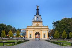 对Branicki宫殿的门在比亚韦斯托克,波兰 库存图片