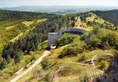 对Cachtice被破坏的城堡的大门门  图库摄影