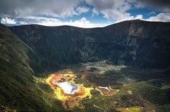 对Caldeira的鸟瞰图做Faial, Faial海岛,亚速尔群岛,葡萄牙 库存照片
