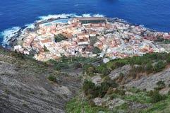 对canarian镇加拉奇科,特内里费岛的看法 库存图片