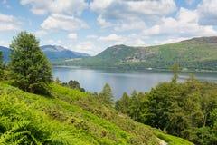 对Castlerigg的Derwent水落,并且Bleaberry下跌湖区英国英国 免版税库存照片