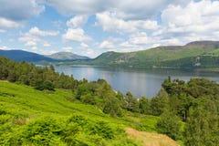 对Castlerigg的Derwent水落,并且Bleaberry下跌湖区英国英国 免版税库存图片