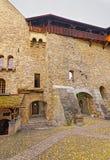 对Chillon城堡庭院的看法在瑞士 库存照片
