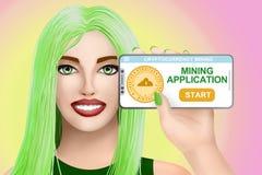 对cryptocurrency采矿的概念申请 色的背景的拉长的好女孩 例证 免版税库存照片