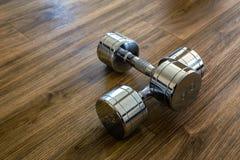 对Dumbells在体育健身屋子 库存照片