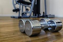 对Dumbells在体育健身屋子 免版税库存图片